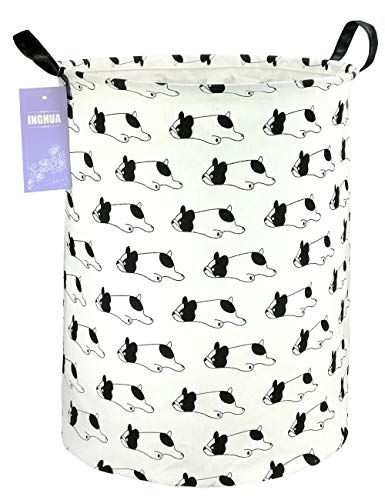 INGHUA Laundry Hamper Large Canvas Fabric Lightweight Storage Basket/Toy Organizer/Dirty Clothes Collapsible Waterproof for College Dorms, Boys and Girls Bedroom,Bathroom(bulldog)