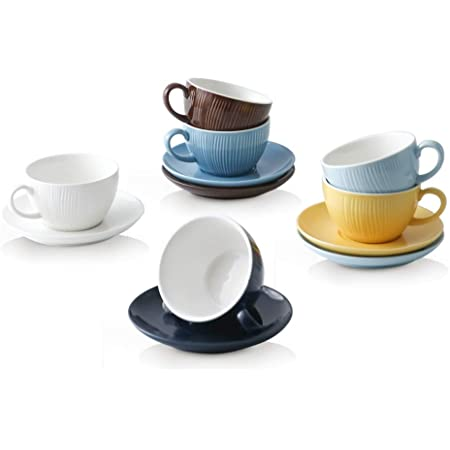 and Latte for Women//Men//Mom//Dad//Best Friend//BFF//Lover//Birthday Gift Ceramic Coffee Tea Cup and Saucer and Spoon Set 10.1 oz Black Porcelain Coffee Mugs for Espresso Cappuccino Hot Chocolate