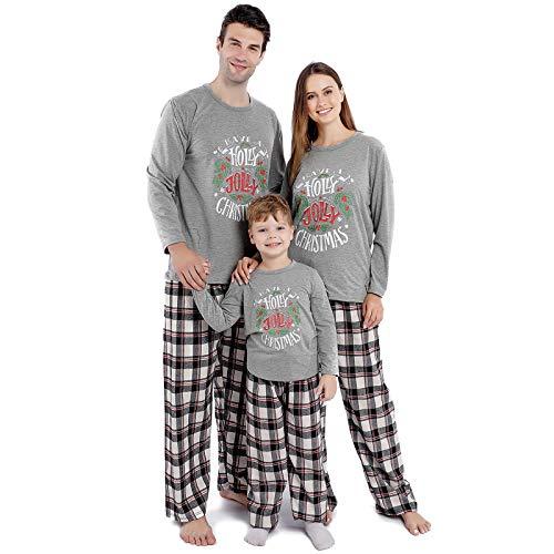 Family Christmas Pajamas Set,Matching Xmas PJs Set with Letter Printed Tee+Plaid Pants Sleepwear (XX-Large/Women) Grey