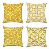 Artscope Lot DE 4 Housse De Coussin, Style Géométrique Simple Moderne Coton et Lin Décoratif Taie d'oreiller Canapé Voiture...