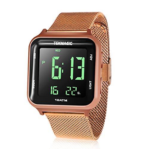 Reloj resistente al agua, 10 ATM, 100 m, luminoso, de acero con funciones de despertador, cronómetro, doble zona horaria, calendario, formato 12/24 horas seleccionable