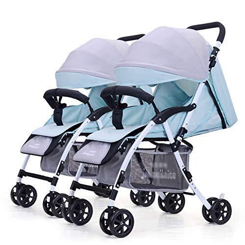 TY-Baby trolley Mmm @ Poussette jumeau, Chariot de bébé Pliable léger détachable de Double Chariot Infantile Chariot ( Color : Blue+Gray )