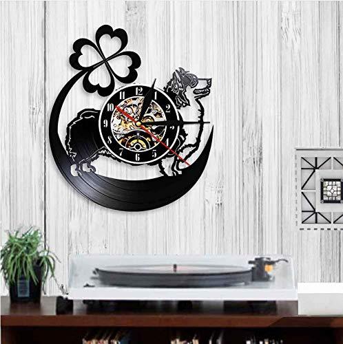 XZXMINGY Vinyl Wanduhr Cardigan Welsh Corgi Hund Uhr für Wohnzimmer Stille CD Hängeuhr mit Regenbogen Farbe Licht Wohnkultur 12 Zoll Uhr