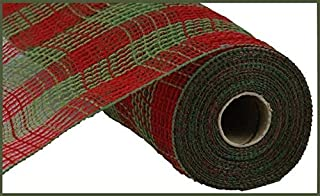 Small Check/Faux Jute Deco Mesh, 10.5 Inch x 10 Yards (Red, Moss Green)