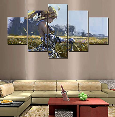 J-Clock Cuadro Modular Fate Stay Night, Pintura en Lienzo para Dormitorio, Impreso, 5 Paneles, Sala de Estar, decoración de Arte de Pared para el hogar