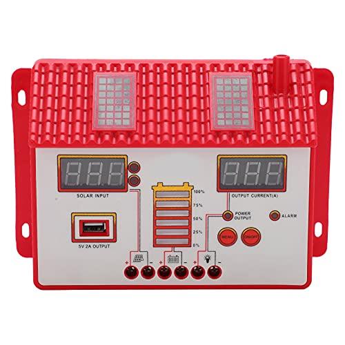 Controlador de carga solar, controlador solar LED 12V / 24V Protección contra cortocircuitos en forma de casa con pantalla LED para uso comercial para uso industrial para el hogar