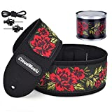CLOUDMUSIC Vegan Guitar Strap Micro Fiber Leather Vegan Leather With Vintage Embroidered Pattern Strap Locks Free (Red Roses)