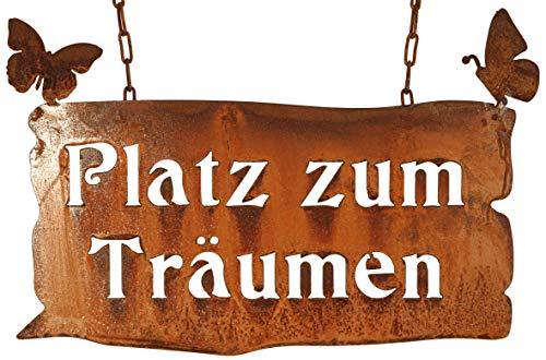 Manufaktur-Lichtbogen Rost Schild Platz zum Träumen 31x46 cm Edelrost Schild Gartendeko