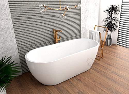 ECOLAM exklusive freistehende Badewanne Standbadewanne moderne Wanne freistehend Elena 170x77 cm + Ablaufgarnitur Click Clack Design Acryl glamour weiß