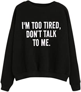 HGWXX7 Women's Casual Print Letter Round Neck Long Sleeve Cotton Pullover Tops Blouse Sweatshirt
