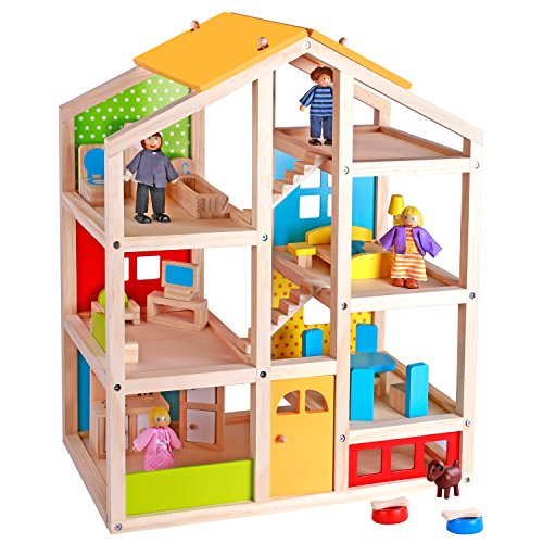 Pidoko Kids Skylar Dollhouse with 20 Pcs...