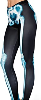 Sister Amy Women's High Waist Pure Color Digital Printted Ankle Elastic Tights Legging