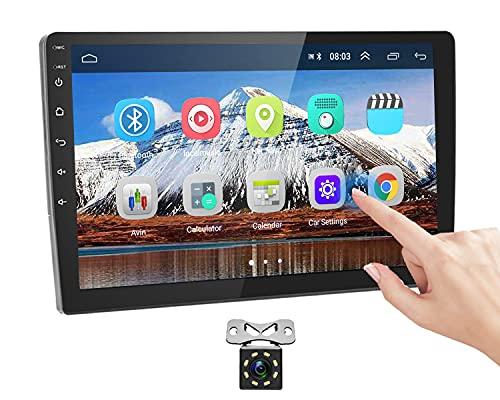 Podofo Android Radio de Coche 2 DIN GPS - Pantalla táctil HD de 10.1 Pulgadas Audio de Video GPS WiFi, Receptor de Radio FM Bluetooth 1G + 16G WiFi con cámara de Marcha atrás