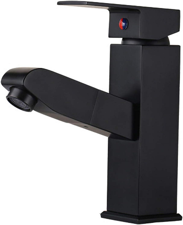 Bad Wasserhahn Vollkupfer Pull-down-einhand-push-typ Warm- Und Kaltverstellung Einloch-waschbecken Wasserhahn,schwarz