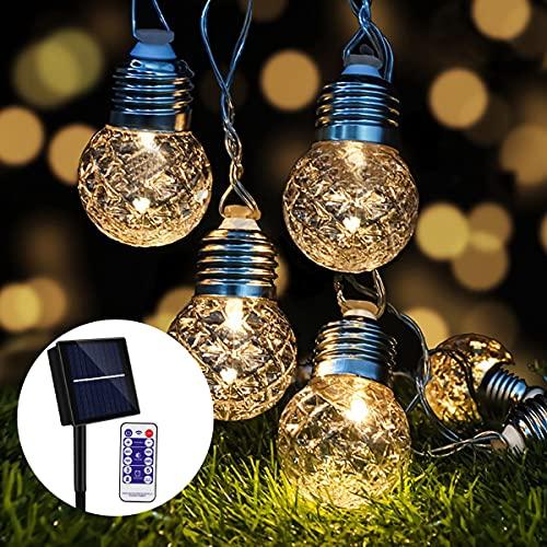 Solar Lichterkette Außen, Sooair 20 LED Kristallkugeln 6M Led Lichterkette Solar Außen 8 Modi Wasserdicht IP65 Aussen warmweiß Außenlichterkette für Weihnachten, Party [Energieklasse A+++]