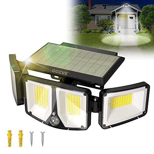 Luz Solar Exterior con 180 LED, Foco Solar LED Exterior Sensor de Movimiento, 2200mAh Luz Solar Jardin Potente con Impermeable IP65 y 3 Modos, para Iluminacion de Seguridad en Jardin, Garaje