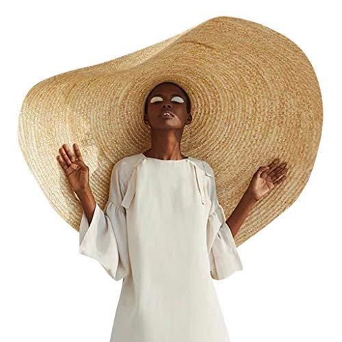 Bokeley Women's Sun Hats, Fashion Straw Hat Extra Large Brim Straw Hat Summer UV Ray Blocking Foldable Roll up Hat Outdoor Wedding Cap for Travel (Khaki)
