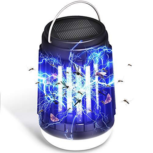 LETOUR Linterna de camping para asesino de mosquitos, 3 en 1, linterna de camping solar y USB, lámpara de asesino de mosquitos electrónica Zapper de insectos portátil para acampar al aire libre viajes