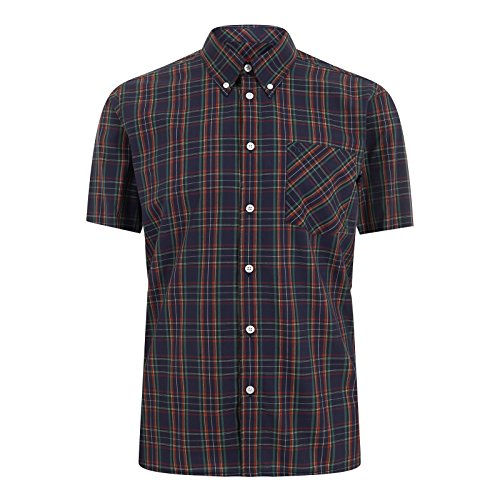 Merc of London Herren Mack, Shirt, Short Sleeve Smoking Hemd, Blau-Blau (Navy), X-Large