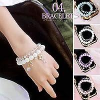 [アライブ] ブレスレット アクセサリー 腕輪 レディース 女性用 ビーズ 数珠 星モチーフ 重ね付け ラベンダー