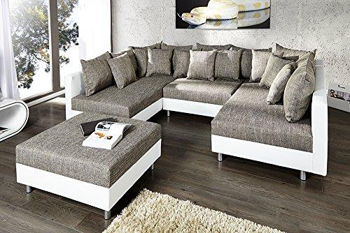 Großes Design Sofa LOFT XXL weiß grau Strukturstoff inklusive Hocker - 3