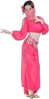 Fulision Women's 3 Piece Set of Indian Dance Costume Top + Pants + Veil Show Costume Set