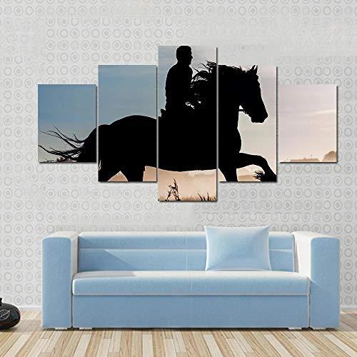 QWASD Jinete Y Caballo Al Atardecer Cuadro En Lienzo 150X80Cm Equipo De 5 Piezas Material Tejido No Tejido Impresión Artística Imagen Decor Pared