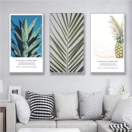 YSNMM Moderne minimalistische planten modulaire print afbeelding muurkunst canvas schilderij decoratie woonkamer No Framed