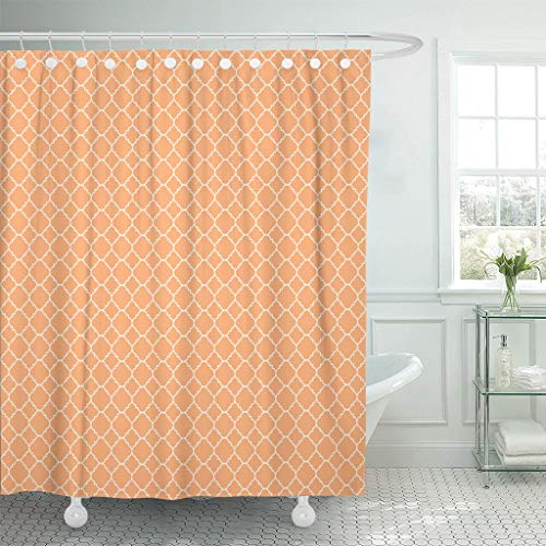 LongTrade Bad Duschvorhang Shower Curtain Orange Quatrefoil Peach Apricot Autumn Coral Fall Grid Waterproof Polyester Fabric Set with Hooks 60