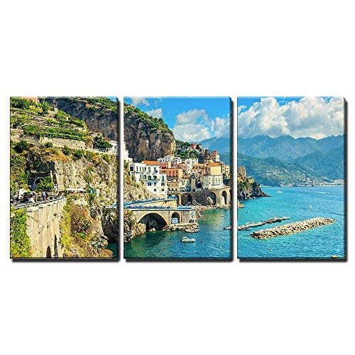 "wall26 - 3 Piece Canvas Wall Art - Beautiful Bay and Famous Resort of Amalfi,Campania Region,Italy,Europe - Modern Home Decor Stretched and Framed Ready to Hang - 24""x36""x3 Panels"