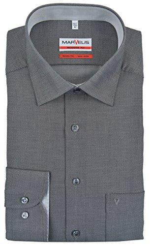 MARVELIS Modern Fit Hemd Langarm mit Brusttasche Struktur schwarz Größe 43