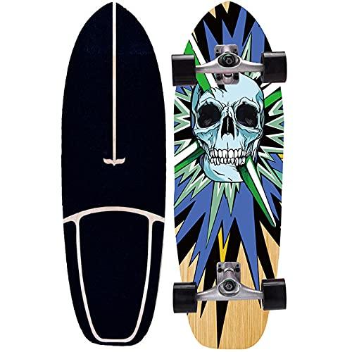 TTYY Surfskate Skateboard para Principiantes Pumping Cruiser Carver Monopatín para Adultos y Niños, 75×23cm Deck Completo de Madera de Arce, Board Fancy CX4 con Rodamientos ABEC-11
