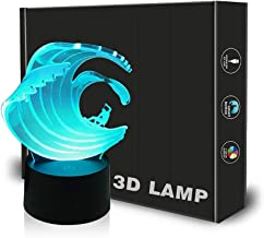 چراغ قوه نوری 3D Surfing Illusion Optical 3D با لمس سوئیچ و 7 رنگ در حال تغییر | هدایای ایده آل برای دکوراسیون اتاق های طرفداران سورفور عاشق توسط LECO TECH