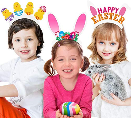 Amosfun Tiara Kaninchenohren Stirnband Küken Haarschleife Fröhliche Ostern Headwear Zubehör für Mädchen Kind Baby Shower [12 Stücke]