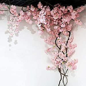 zhenxin Artificial Flowers 105cm Fake Cherry Blossom Tree 3 Fork Sakura Branch Artificial Flower Silk Wedding Background Wall Decoration