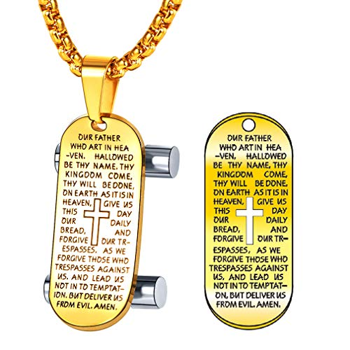 FaithHeart Vaterunser Anhänger 18K Gold Halskette für Männer Dog Tag mit Skateboard Vergoldet Anhänger Schmuck Geschenk…