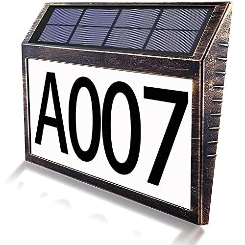 HUBLEVEL Numero Civico Solare Esterno un LED Luce Solare un Risparmio Energetico per Porta Targa da Giardino DIY Numero Porta del Garage