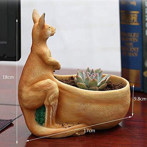 Faturt Persönlichkeit reizendes Harz-Känguru Form Sukkulente Pflanze Modellierung Einzigartige Hausgarten-Desktop-Innen verkleiden Desktop-Blumenkorb Gartenblumentopf