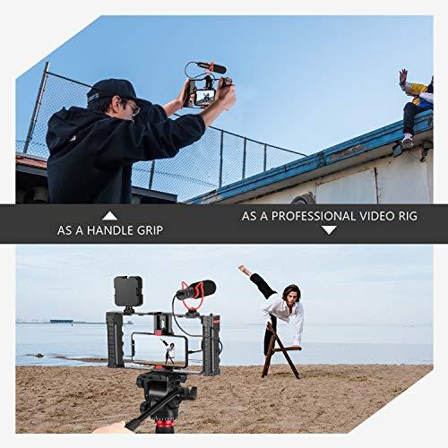 Neewer Handy Video Rig Stabilisator 3 Kaltschuh und Stativhalterung für Vlogger Videomaker Filmer Kompatibel mit iPhone 11 Pro Max/11 Pro/11/Xs Max/Xs/Xr/8 7plus/OnePlus 8 7 Pro/Samsung (Kunststoff)