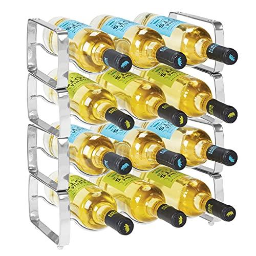 mDesign Set da 2 scaffali per bottiglie di vino impilabili – Portabottiglie in metallo per 3 bottiglie ciascuno – Organizer metallo per ogni tipo di bottiglia – grigio scuro