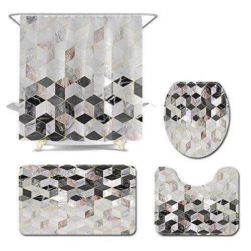 Weiweiba 4 Pieces Shower Curtain with Matching Mats, 3D...