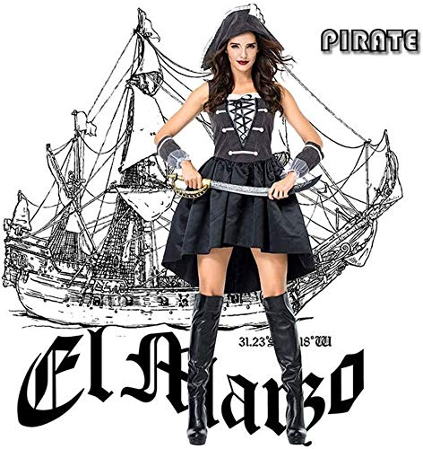 BTXX Halloween Spanisch Piraten-Kostüme, Rock Kostüm Piraten weiblicher Kapitän Voyager Cosplay Cosplay Sailor, M (Size : Large)
