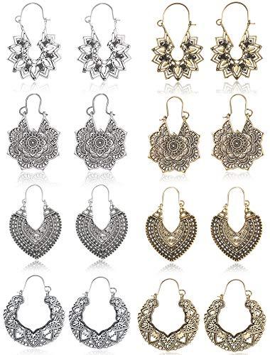FIBO STEEL 8 Pairs Vintage Mandala Flower Gypsy Drop Dangle Earrings for Women Boho Retro Tribal Hollow Earrings Set