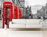 Fotomural Vinilo Pared Cabina Teléfonos Londres | Fotomurales Pared | Fotomural Decorativo | Vinilo Decorativo | Varias Medidas 150 x 100 cm | Decoración comedores Salones | Motivos Paisajisticos