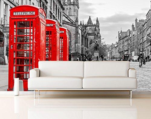 Fotomural Vinilo Pared Cabina Teléfonos Londres | Fotomurales Pared | Fotomural Decorativo | Vinilo Decorativo | Varias Medidas 200 x 150 cm | Decoración comedores Salones | Motivos Paisajisticos