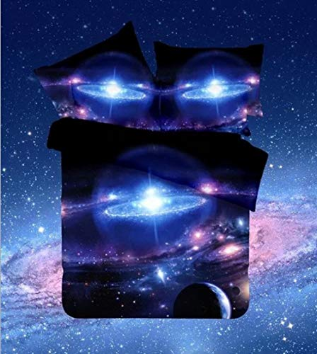 Wzhfsq Fxirza 3 Pieces Bedding Set, Duvet Cover With 2 Pillowcases Printed Creative Universe Galaxy 260 * 230Cm Bedding Set With Zipper Closure Anti-Allergic Duvet Cover For Kids And Adults Double