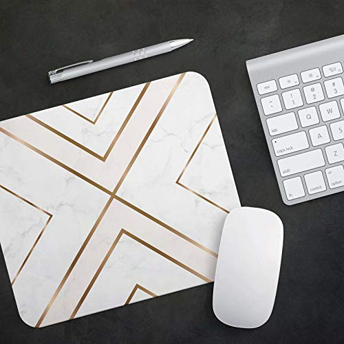 Mouse Pad White Chic Pattern Cute Desk Mousepad Non-Slip Rubber Custom Computer Accessories Gaming Mouse Pad Rectangle Mouse Pads for Home and Office Work Photo #5