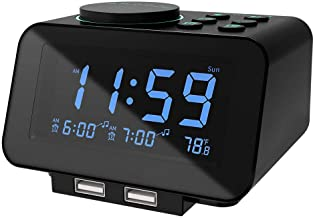 USCCE Digital Alarm Clock Radio - 0-100% Dimmer, Dual Alarm with Weekday/Weekend Mode, 6 Sounds Adjustable Volume, FM Radi...