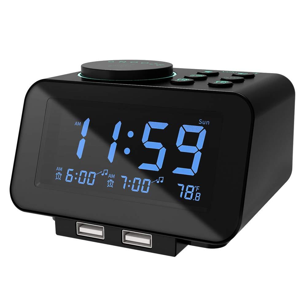 USCCE Digital Alarm Clock Radio USB