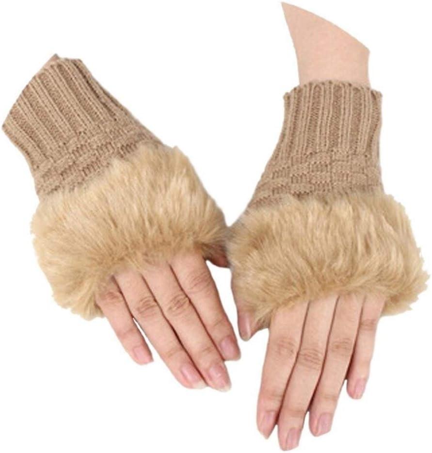 FASGION Fashion Winter Women Gloves Plush Faux Fur Knitting Wool Keep Warm Short Mitten Fingerless Lady Girl Half Finger Glove (Color : Camel)